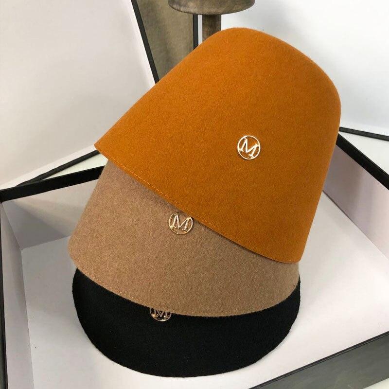 Autumn Winter New Woolen Bucket Hat Retro Solid Color Bell-shaped Basin Hat for Men Women Trend Letter M Temperament Headdress