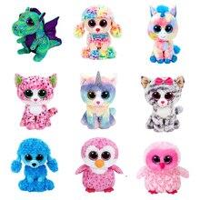 Подлинная мягкая Набивная игрушка Ty Beanie с большими глазами, плюшевые куклы-животные, игрушка, единорог, кошка, серый верец, кошка, Кики для де...