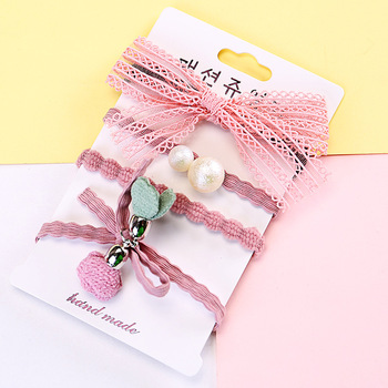 South Korea Sweet New Lace Pearl Bow Flower Hair Band Hair Band Set Hair Accessories 4-Piece Wholesale Price
