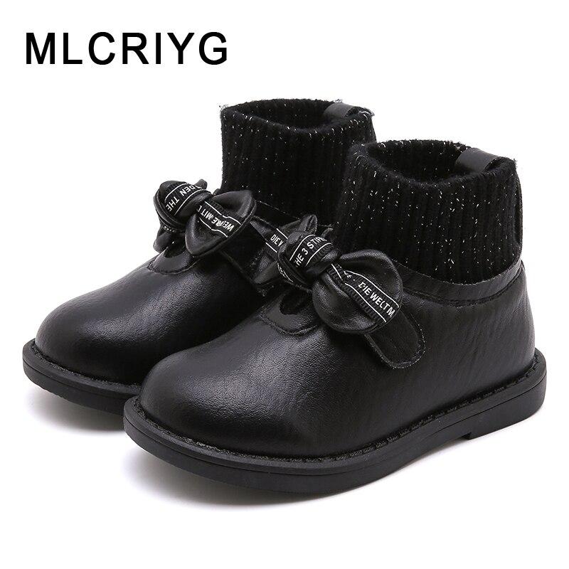 Зимние Детские ботильоны; ботинки принцессы для маленьких девочек; обувь без застежки с бантом для малышей; теплые брендовые ботинки; черные ботинки; модная обувь; Новинка