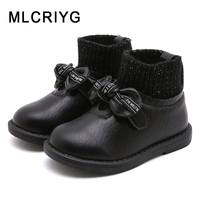 Winter Children Ankle Boots Baby Girls Princess Boots Toddler Bow Slip On Shoes Warm Brand Boots Black Boots Fashion Shoes New