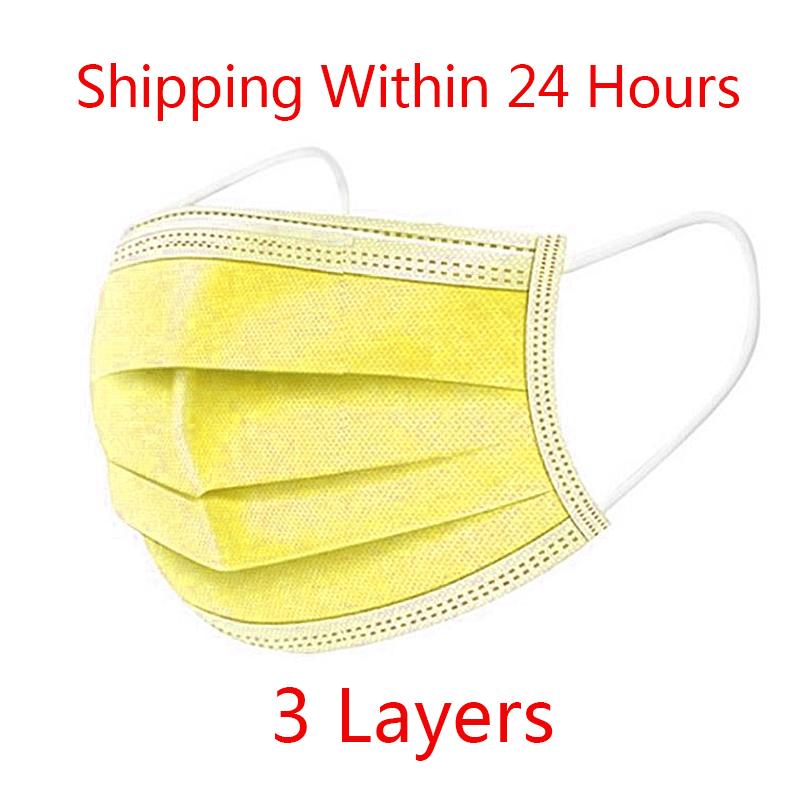 10pcs/100pcs/lot Disposable Elastic Earloop Mouth Face Masks Disposable Yellow Masks Face Non Woven 3 Layer Mask