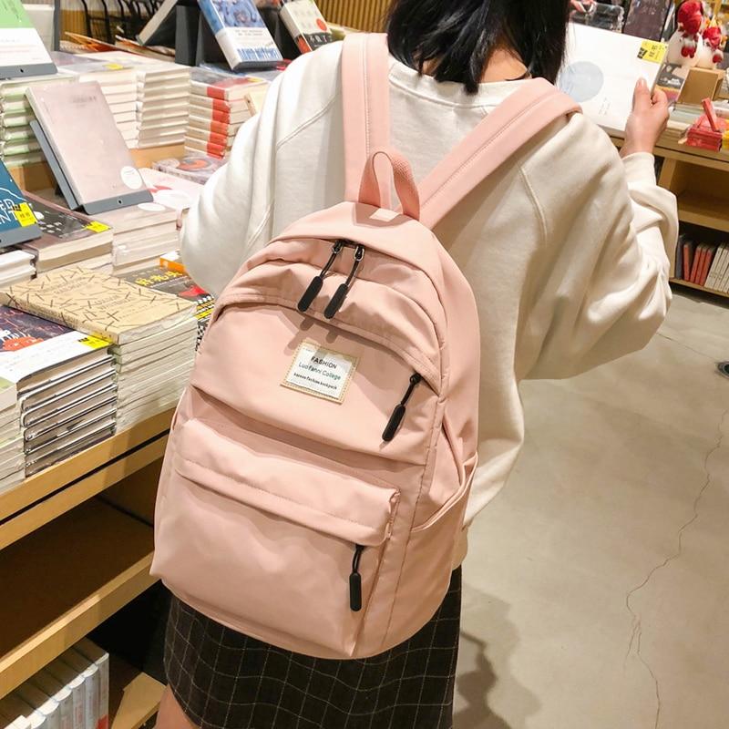 JOYPESSIE Fashion Waterproof Backpack School Bag Women Simple For Teen Girl Nylon Backpack Travel Mochilas