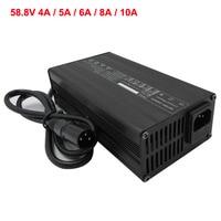 Cargador de batería de litio de 58,8 V, 4A, 5A, 6A, 8A, 10A, con ventilador, cargador inteligente de iones de litio de 52V, 14S, 51,8 V