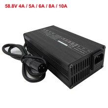 Зарядное устройство для литиевых аккумуляторов, 58,8 в, 4 а, 5 А, 6 А, 8 А, 10 А, с вентилятором, 52 в, 14 с, умное зарядное устройство для литий-ионных ак...