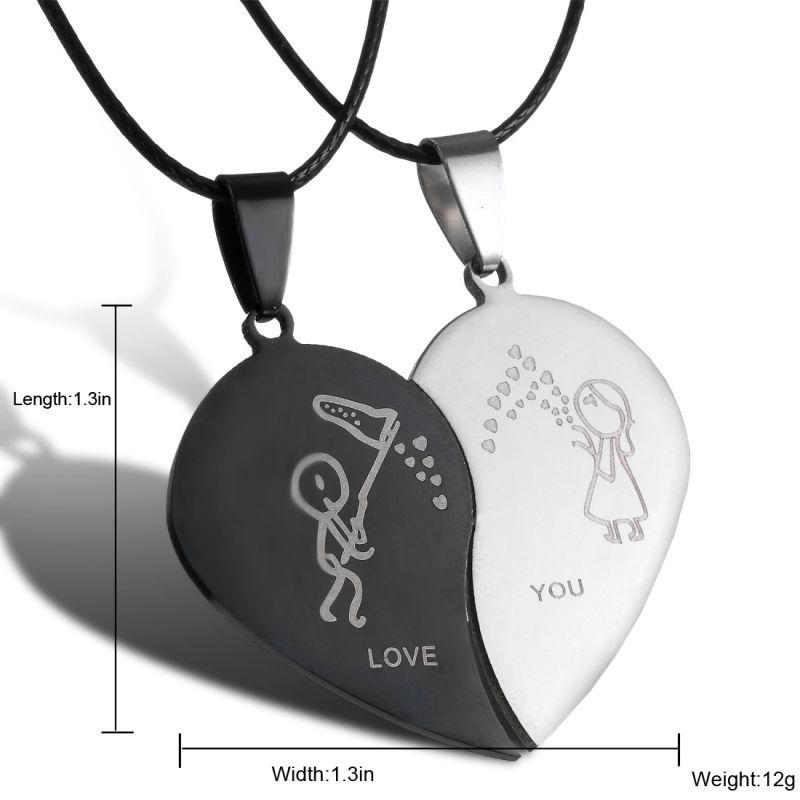 Парные ювелирные изделия, ожерелья в форме разбитого сердца, черное ожерелье из нержавеющей стали, выгравированные Подвески Love You, ожерелье ... - 4