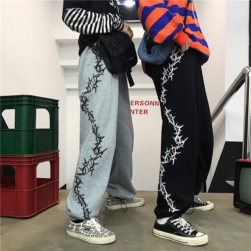 2020 Autumn Warm Pants Women Fashion Thorns Printed Hip Hop Unisex Trousers Causal Elastic Wait Streetwear Loose Joggers Femme