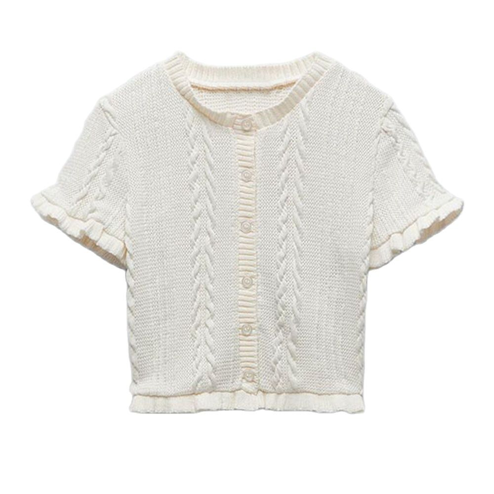 DiYiG WOMANSpring new women's clothing sweet gentle style age-reducing hollow-out short-sleeved sweater top