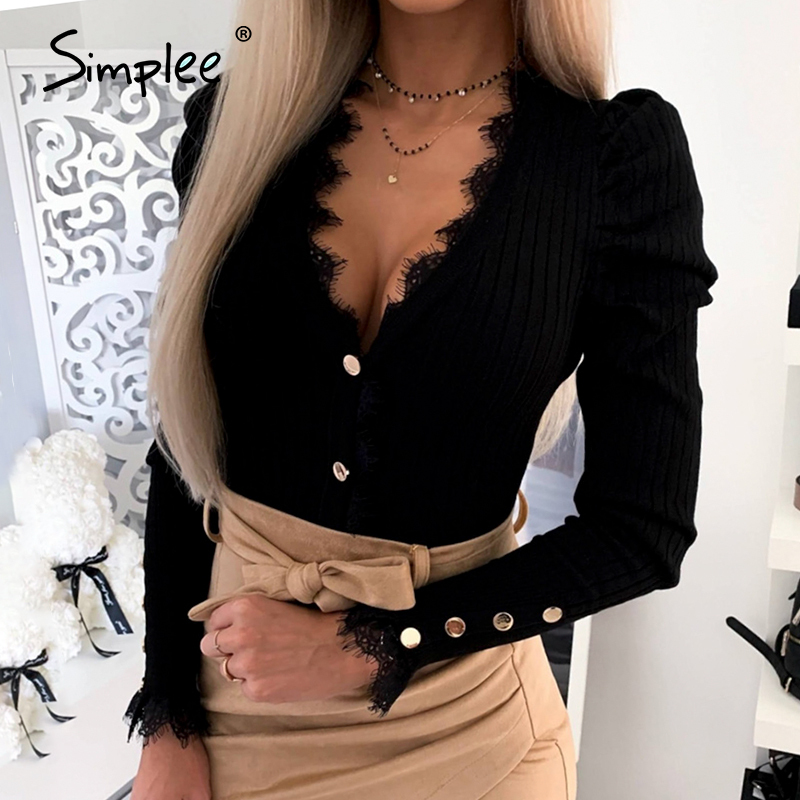 Simplee Spring Button Casual Knitted Women Blouse Shirt Sexy Club Lace Blouse Shirt Feminino Knitwear Plus Size Blusas Mujer