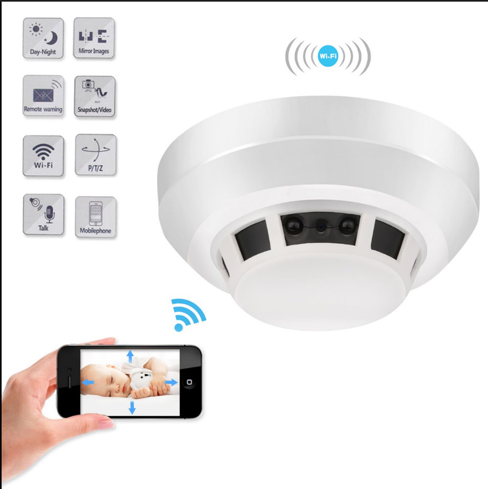 Smart Home IP Camera HD 1080P Battery Powered Security Smoke Detector WIFI Cam Mobile Remote View Night Vision CCTV Baby Monitor image
