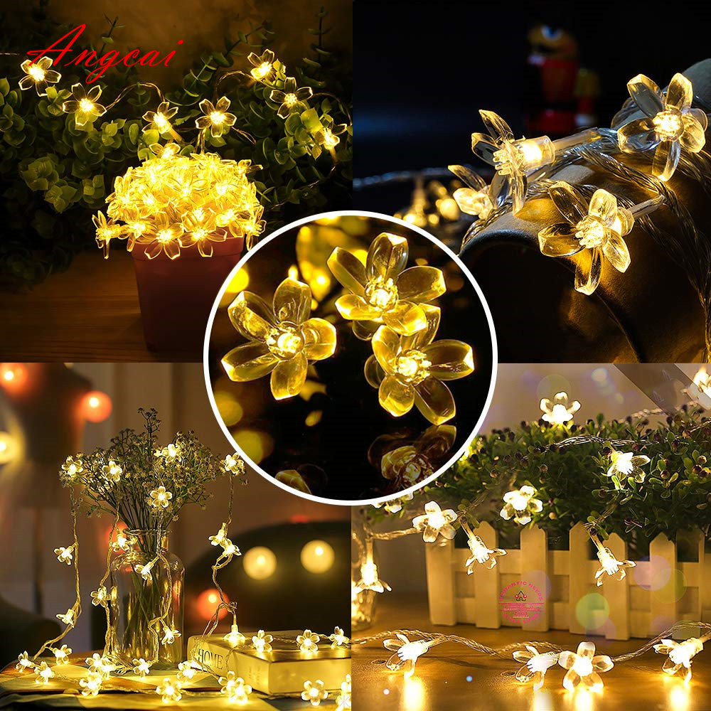 Flower Sakura String Lights, Indoor/Outdoor Decorative, Fairy Twinkle Wire Lights Flash Battery Operated USB AC Plug 10M 33FT