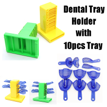 1 set Dental Impression Tray Holder Stand Placing Frame Dentist Instrument Dentistry Materials Tools With 10 pcs