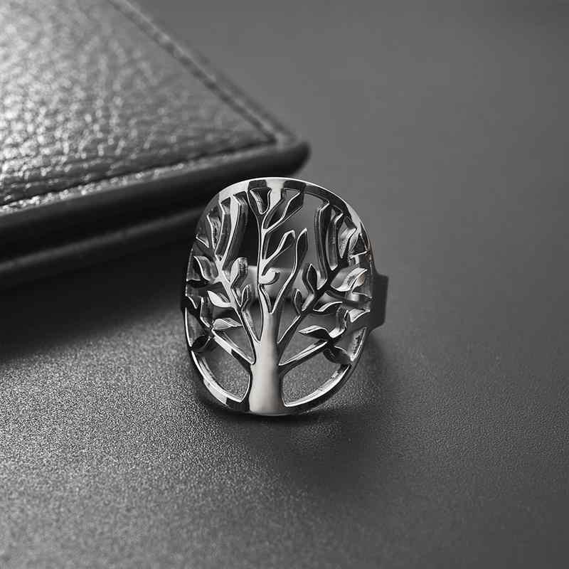 Jiayiqi แหวนสแตนเลส Tree แบบคลาสสิกผู้ชาย Openwork แหวนเงินแฟชั่นเครื่องประดับอุปกรณ์เสริมสำหรับผู้หญิงโชคดีของขวัญ