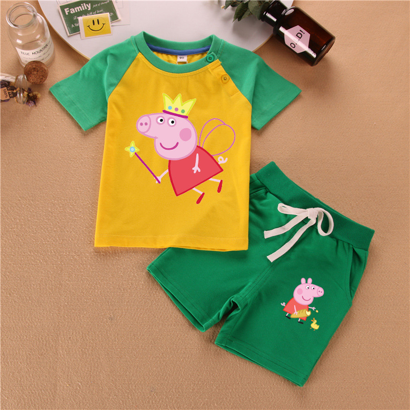 Kid Clothes Peppa Pig Boys Clothes Baby Kids Sets Children Chase Rocky Short Sleeve Toy Plus Velvet Sweater Suit Dolls New
