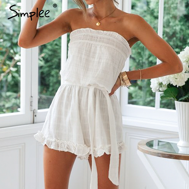 Simplee Linen ruffled women playsuit Elegant solid sashes short   jumpsuit   romper Casual streetwear sleeveless ladies overalls