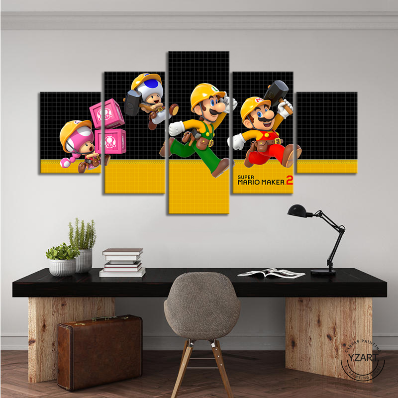 SUPER MARIO MAKER 2 video game poster paintings mario games art HD wall picture canvas painting for bedroom wall decor 2