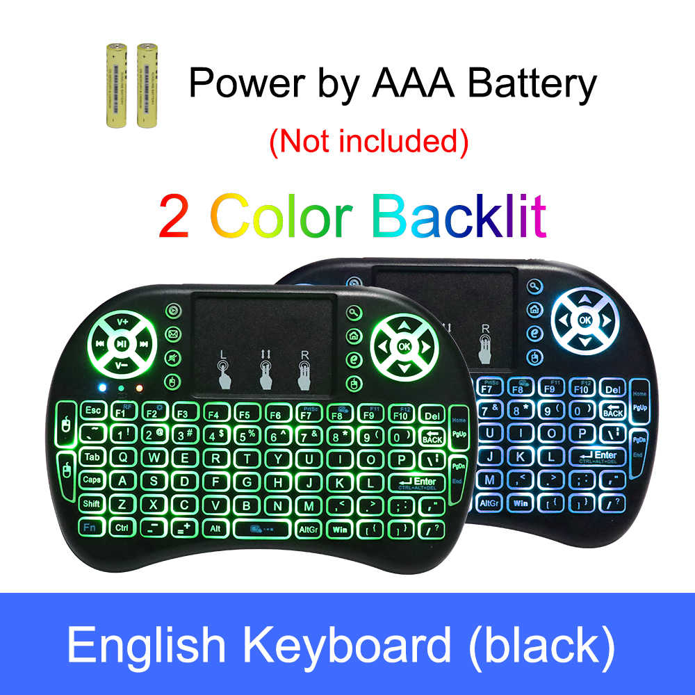 I8 Russisch Engels Spainish 2.4GHz Backlit Wireless Mini Keyboard Air Mouse Afstandsbediening met Touchpad Voor Android TV Box