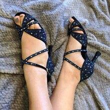 Female Salsa Jazz Ballroom Latin Dance Shoes For Dancing Women Ladies Waltz Small Feet Golden Heel Footwear Rhinestones Sandals