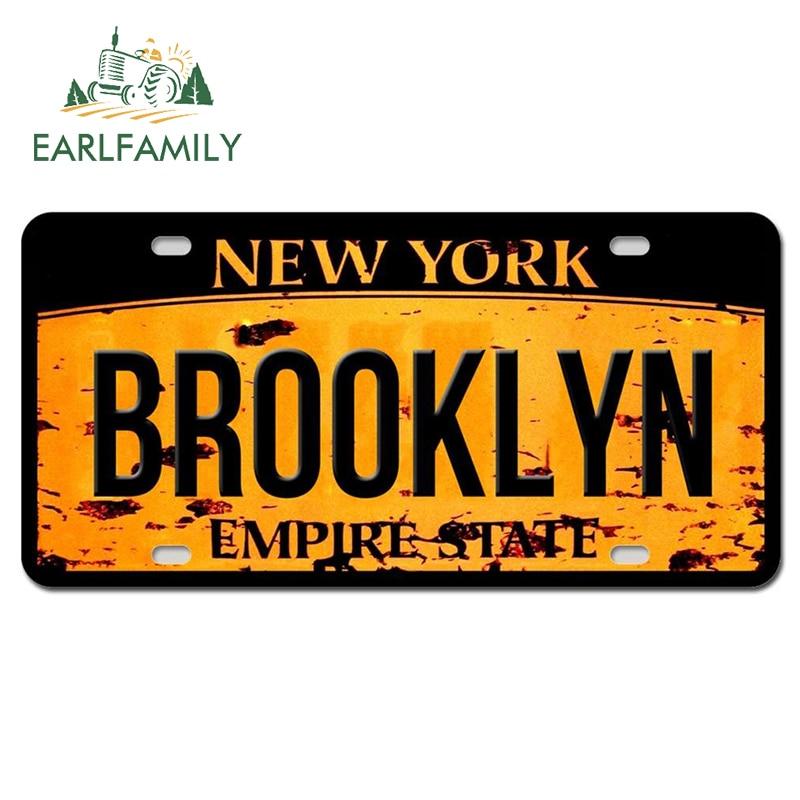 EARLFAMILY 13 см x 6,6 см Нью-Йорк Бруклинский текст наклейка на автомобиль номерной знак Стиль Водонепроницаемый наклейка багажник мотоцикла Деко...
