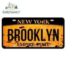Earlfamily 13cm x 6.6cm nova iorque brooklyn texto etiqueta do carro auto placa de licença estilo decalque impermeável tronco decoração da motocicleta