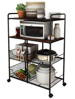 Estante de cocina, estante para suministros de cocina en el suelo, estante para ollas y cuencos para verduras de almacenamiento para horno y microondas de múltiples capas