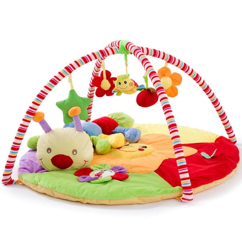 Tapis de jeu bébé avec support Musical doux coton tapis rampant lit rond bébé tapis de sport cadeau pour enfants lit mobile bébé Gym