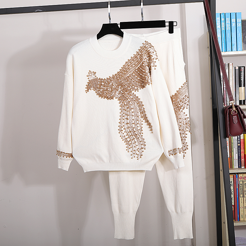 High Quality White Knit Set Women Fashion Beading Sequin Long Sleeve Knitted Sweater + Casual Pants 2 Pieces Set Women Tracksuit