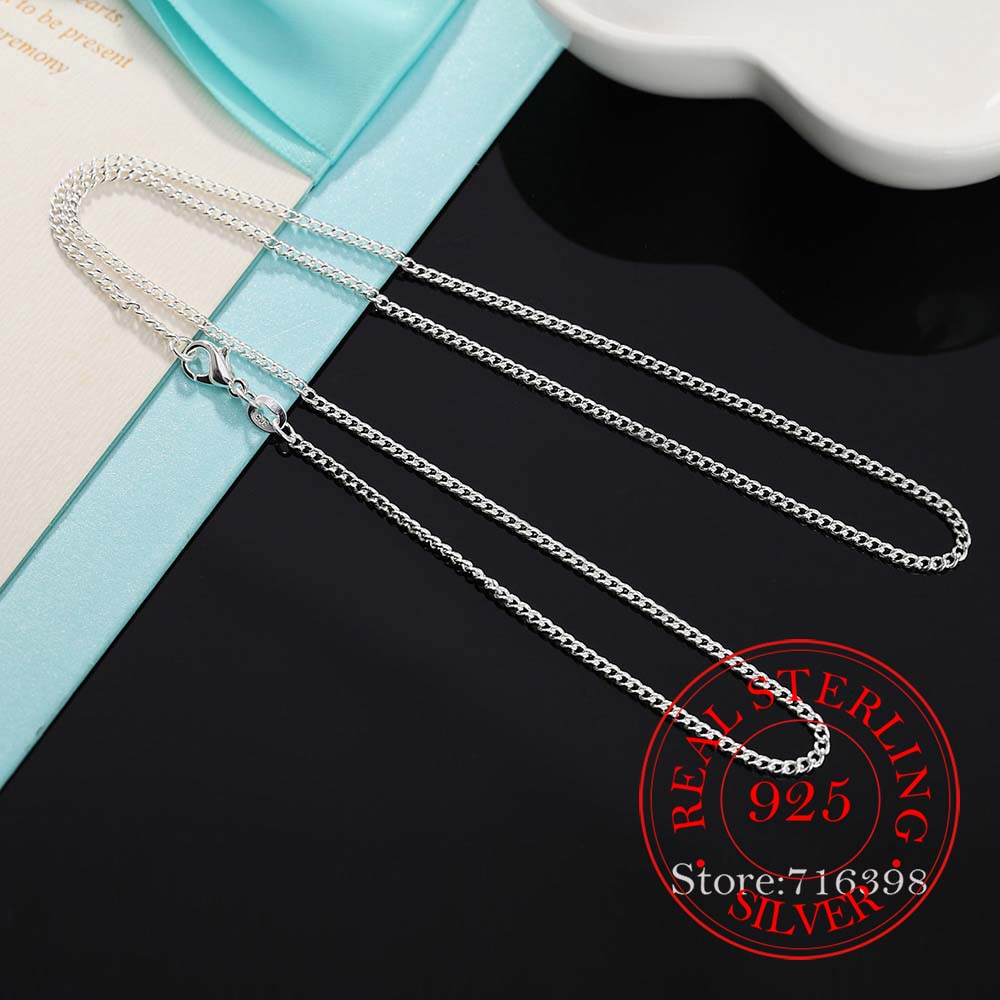 16-30inch Thin Real 925 Sterling Silver 2mm side chain Necklace Women Girls Kids Children 40-75cm Jewelry kolye collares collier 3