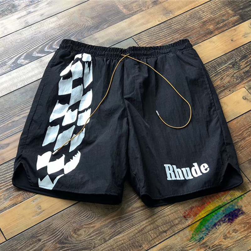 Racing Track Printing RHUDE Shorts Men Women RHUDE Logo Print Shorts Summer Good Quality Oversize Breechcloth Mesh Lining