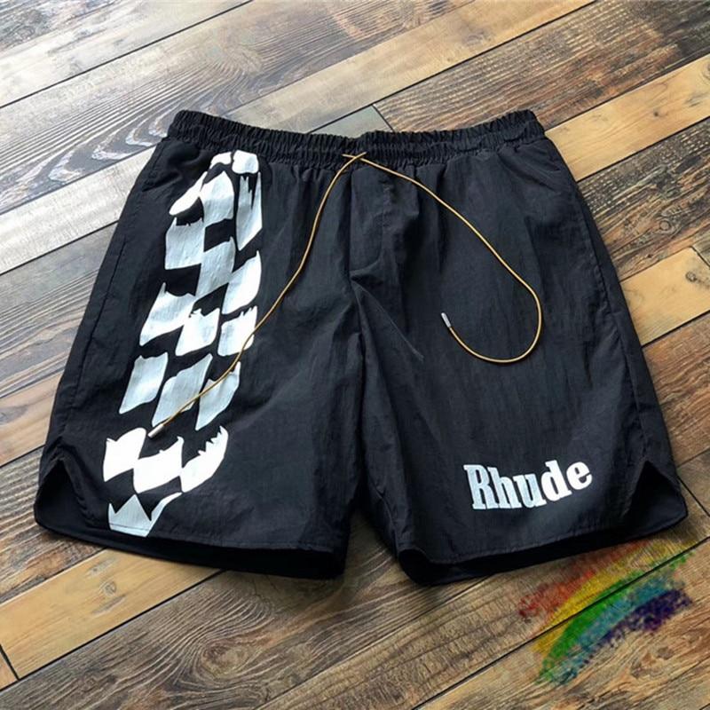 Racing Track Printing RHUDE Shorts Men Women RHUDE Logo Print Shorts Summer Good Quality Oversize Breechcloth Mesh Lining