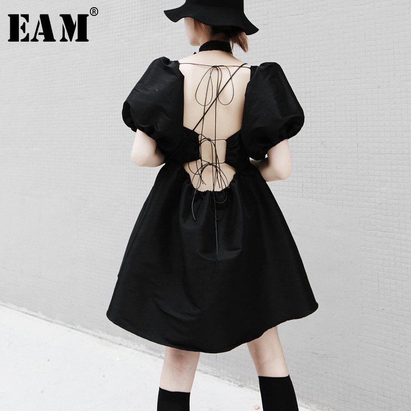[EAM] Women Back Bandage Temperament Dress New Square Collar Short Sleeve Loose Fit Fashion Tide Spring Summer 2020 1T658