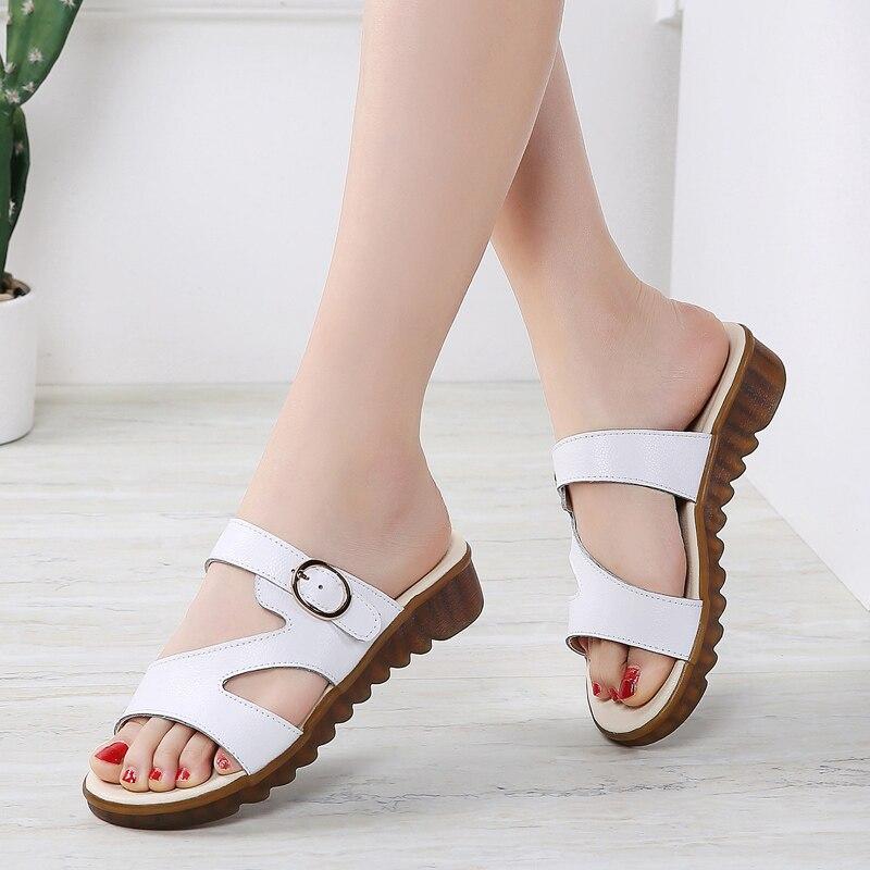 SDZ 2020 Summer Sandals Women Slippers Slip On Flat Slides Sandals Women Leather Suede Slides Ladies Slippers Flip Flops 1902
