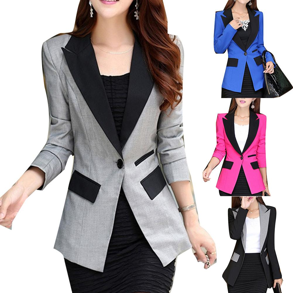 2020 Office Lady Women Lapel Collar Long Sleeve Color Bl-ock Button Plus Size Blazer Jacket Top