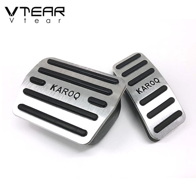 Vtear for Skoda Karoq car gas fuel foot pedals cover brake rest pedal pads trim styling accessories decoration automobile 2020