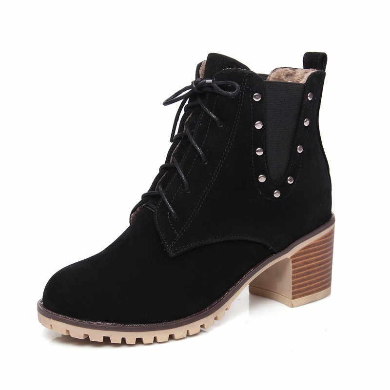 MoonMeek 2020 büyük boy 33-43 kadın marka bot kare topuklu roumd toe lace up bayanlar ayakkabı rahat rahat yarım çizmeler