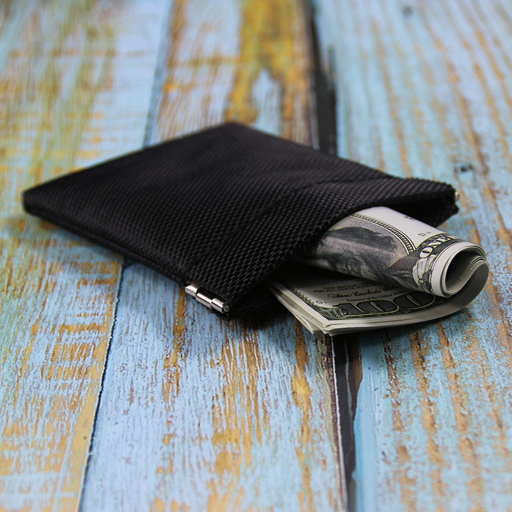 Metallic Frame Coin Purse Women Men Mini Short Wallet Money Change Earphone Bag Pocket Portable Card Holder Solid Black Pouch