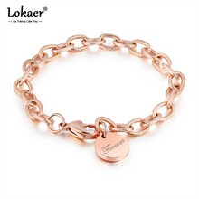 Lokaer Trendy Rugged Twist Round Card LOVE Rose Gold Color Bracelets Stainless Steel Personality Chain & Link Bracelets B18193