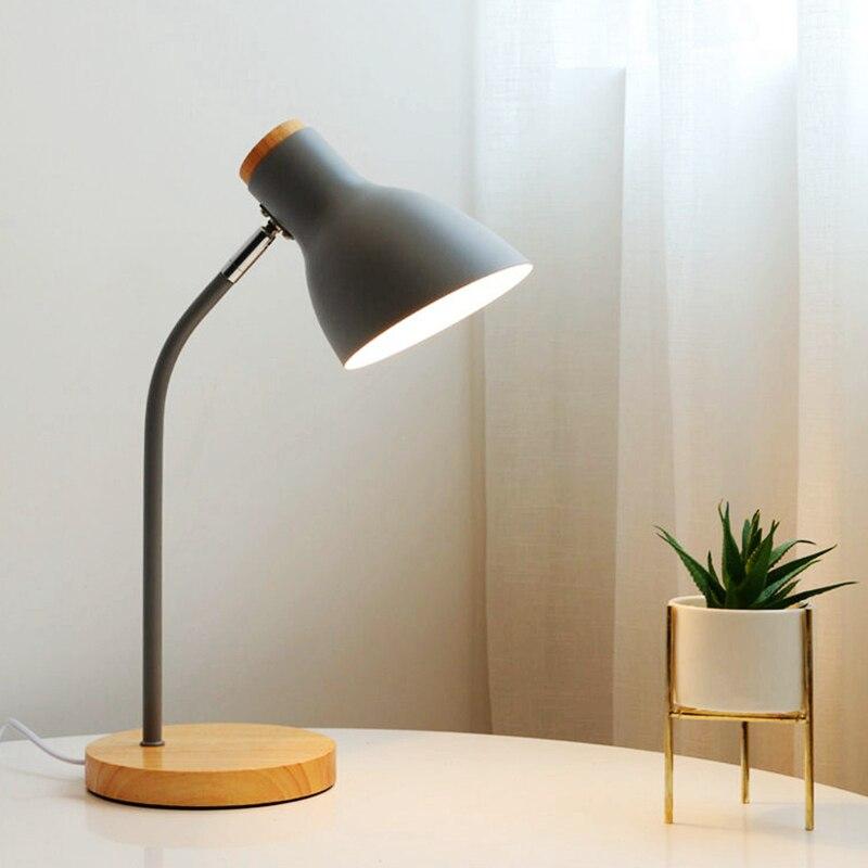 Multi Angle Wooden Art Iron LED Folding Nordic Style Desk Lamp Eye Protection Reading Table Lamp Living Room Bedroom Home Decor|Desk Lamps| - AliExpress