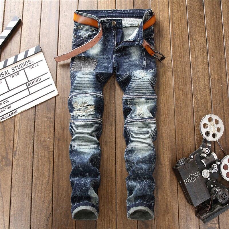 Applique Jeans Men Elasticity Pencil Pants Pants Men's Slim Fit Zipper Decorations Joint Jeans