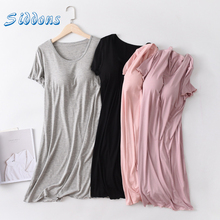 SIDDONS Summer Nightgowns Cotton O neck Women Sleepdress With Breast Pad Nightwear Sleep Lounge Nightdress Home Dress Plus Size