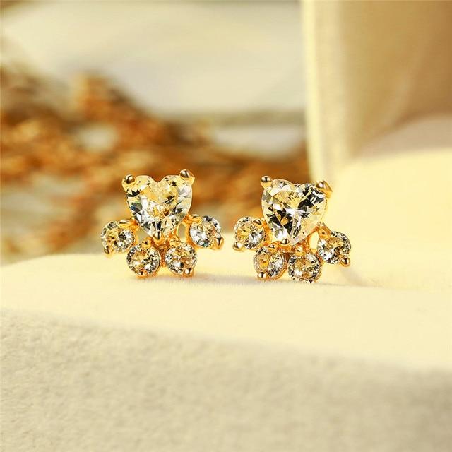 Dog White Stone Earrings  2