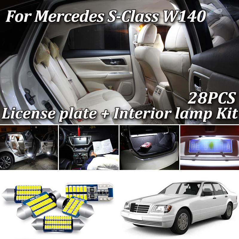 28Pcs White Canbus Error Free For Mercedes Benz S Class W140 LED Interior Vanity Mirror Light + License Plate Lamp (1994-1998)