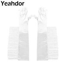 1 par de guantes de novia para mujer, guantes largos de longitud hasta el codo Vintage, guantes de satén con flecos para boda, Damas, chicas, novias, desfile, dedos
