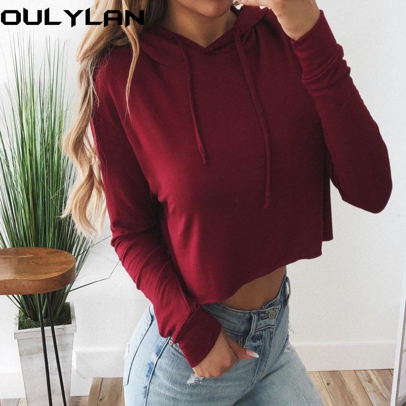 Oulylan Women Hoodies Sweatshirts Ladies Crop Top Short Long Sleeve Pullovers Girls Sexy Casual Hooded Sweatshirt