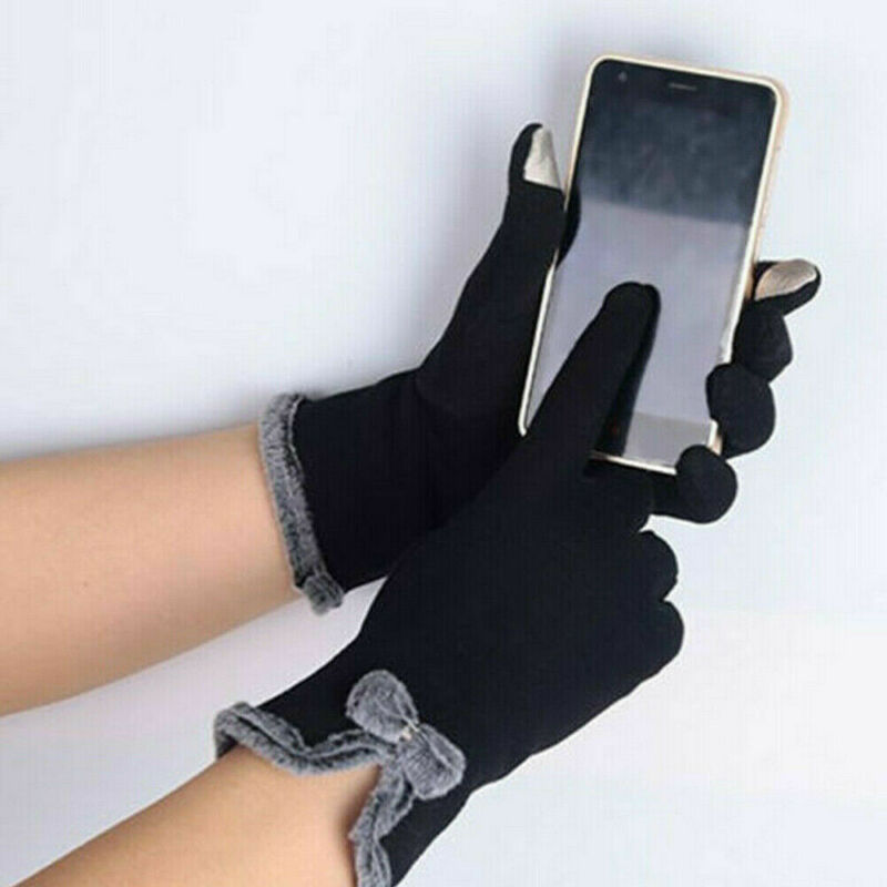 Full Finger Gloves Mitterns Womens Winter Fleece Thermal Touch Screen Gloves Faux Fur Thicken Warm Wrist Mitten