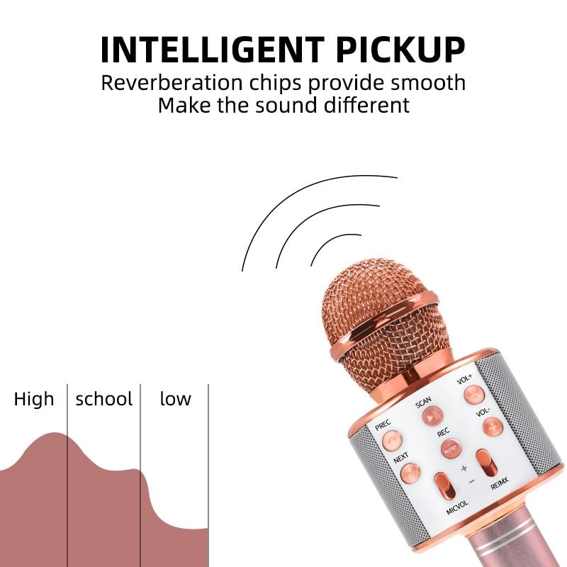 Bluetooth Karaoke Microphone Wireless Microphone Professiona Speaker Handheld  Microfone Player Singing Recorder  Mic 2