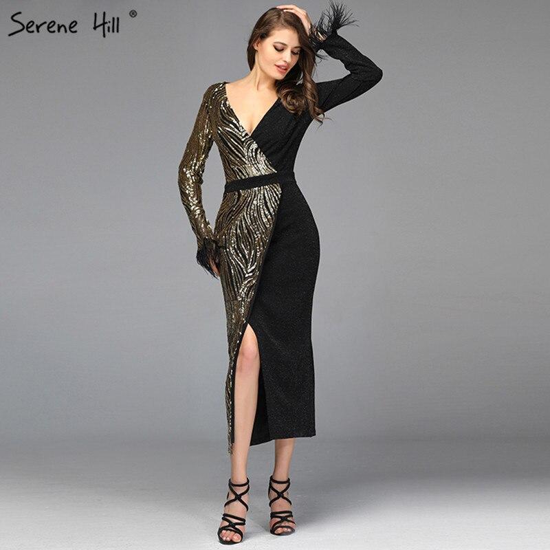 Black Sequined V-Neck Mermaid   Cocktail     Dresses   2019 Long Sleeves Tea-Lenght   Cocktail     Dress   Design Serene Hill QA8040