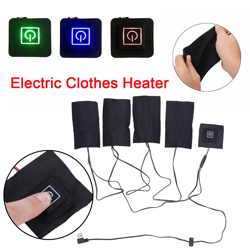Electric Heating Pad Clothes Heater Warmer Pads Durable USB Black Cushion Jacket Winter 3 Gear Adjustable Clothing Heating Sheet