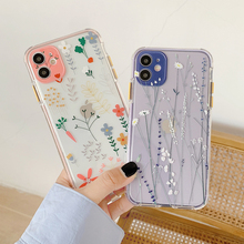 Candy Color flowers lavender Phone Case For iPhone 12 12Pro 7 8Plus X XR XS 11 Pro Max Plant Floral Leaf Clear TPU Back Cover