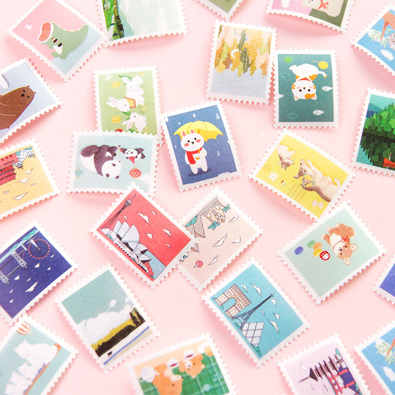 1Pc Kawaii Adhesive Decor Stickers Cute Animal Stamp Stickers For Kids Gifts Scrapbooking DIY Photo Album Supplies Stationery
